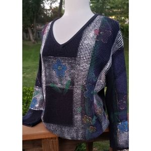 Vintage Crazy Fish Hand Painted Waffle Sweater L